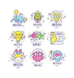 Mind energy original logo design set creation and vector