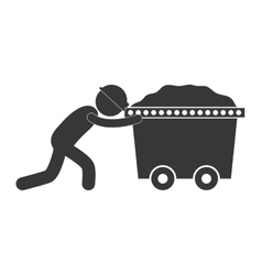 Mining worker pushing trolley figure pictogram vector