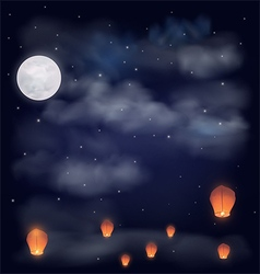 Night sky with the moon stars and chinese wish la vector