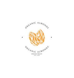 Organic almonds logo template vector