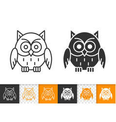 owl simple black line and glyph icons vector image