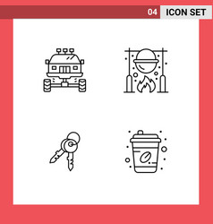 Pack 4 modern filledline flat colors signs and vector