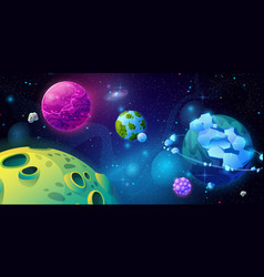 Planet fantasy in space cosmos and galaxy stars vector