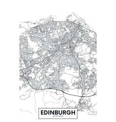 poster detailed city map edinburgh vector image