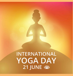 poster invitation on yoga day 21 june vector image