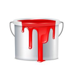 Realistic paint bucket composition vector