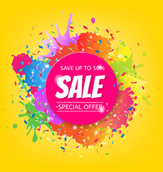 sale banner with color stain vector image