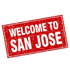San Jose red square grunge welcome to stamp vector