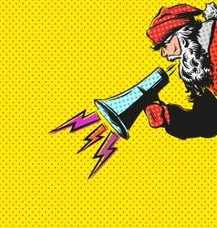 Santa Claus flat design with loudspeaker vector image