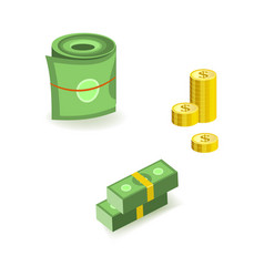 set isometric bill money currency elements vector image