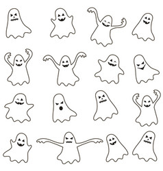 Set of ghost icons vector