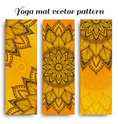 set of sunny yoga mat pattern vector image