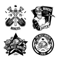 set of vintage mining emblems vector image