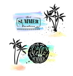 Set with watercolor emblems with splashes and palm vector image