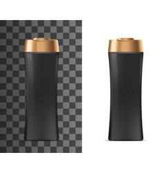 Shampoo black plastic bottle with golden lid vector