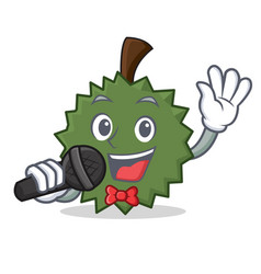Singing durian mascot cartoon style vector