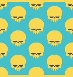 Skull pixel art seamless pattern head of skeleton vector
