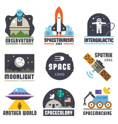 Space logo set vector image vector image