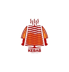 Stylized hot freshly grilled Turkish doner kebab vector image