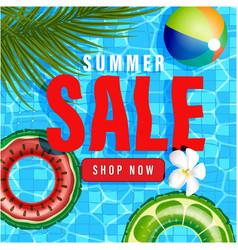Summer sale text on beach holidays elements vector