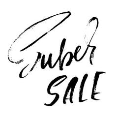 super sale handwritten lettering grunge dry brush vector image