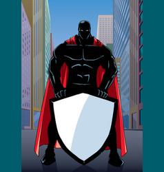 Superhero holding shield on street silhouette vector