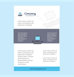 template layout for boat comany profile annual vector image