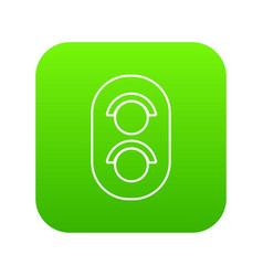 traffic light railway icon green vector image