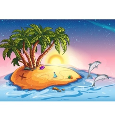 Treasure Island in the ocean and vector image