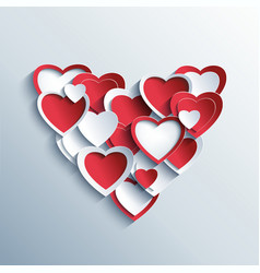 Valentines day card with red and white 3d hearts vector image