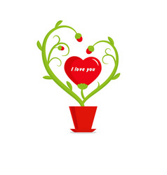 valentines day flower stem and red hearts vector image