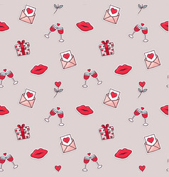 valentines day love icon seamless pattern cartoon vector image
