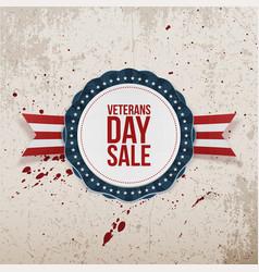 Veterans day sale greeting emblem and ribbon vector