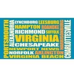 Virginia state cities list vector