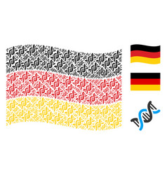 Waving germany flag pattern of dna spiral icons vector