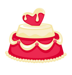 Wedding cake with pink heart bridal decor vector