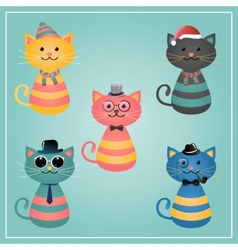 Winter hipster cats vector