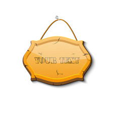 wooden signboard isolated on a dark wooden vector image