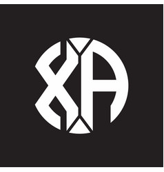 Xa logo monogram with piece circle ribbon style vector