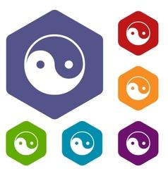 Yin Yang rhombus icons vector