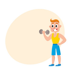 young man training biceps with dumbbell vector image