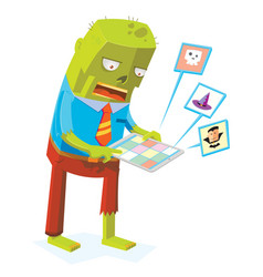 zombie online by using tablet computer vector image