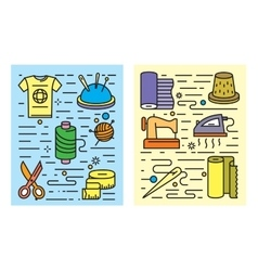 Color flat sewing and needlework vector