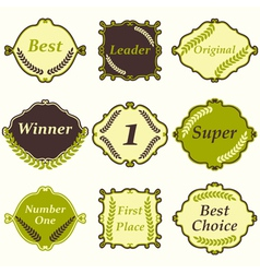 Flat design number one first place winner frames vector image