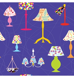Lamps and lights seamless pattern vector image vector image