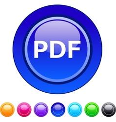 PDF circle button vector image vector image