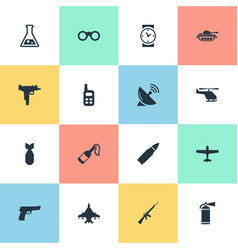 Set of 16 simple battle icons can be found such vector
