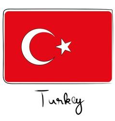 Turkey flag doodle vector image