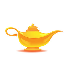 aladdin yellow lamp isolated object vector image vector image