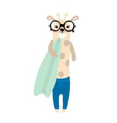cute giraffe boy hand drawn vector image vector image
